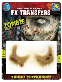 Zombie Wangenknochen Klebe-Tattoo-Set Halloween 2-teilig haut-grün 12,7x17,8cm