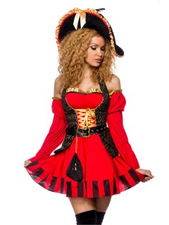 Elegante Piratin Damenkostüm Halloweenkostüm rot-schwarz