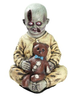 Zombie Junge mit Teddy Halloween Puppe beige-grau-braun 38x30x23cm