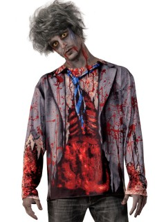 Zombie Longsleeve Halloween-Hemd bunt