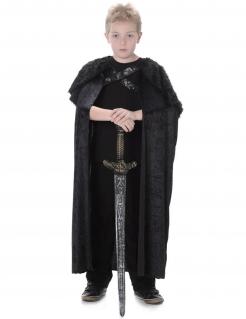 Mittelalter-Krieger Fell-Umhang für Kinder schwarz