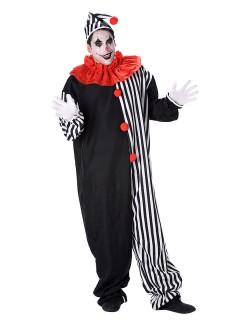 Harlekinkostüm für Erwachsene schwarz-rot-weiß