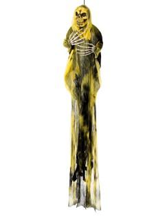 Gruseliger Geist Halloween-Hängedeko Skelett schwarz-gelb 110x95x9cm