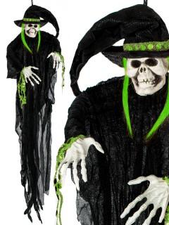Schaurige Skelett-Hexe Halloween-Hängedeko schwarz 75cm