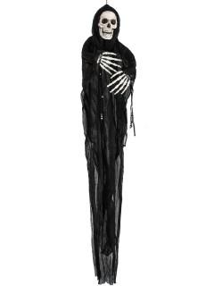 Gruseliger Sensenmann Halloween-Hängedeko Skelett schwarz-weiss 110x68x8cm