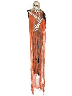 Grausiger Skelett-Geist Halloween-Hängedeko schwarz-orange 112x93x10cm