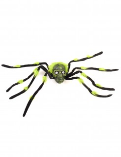 Schaurige Riesen-Spinne mit Totenschädel Halloween-Deko schwarz-grün 85cm