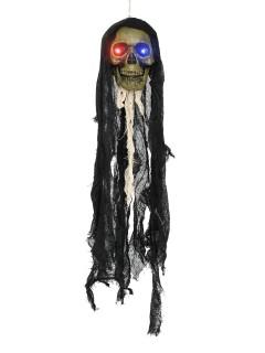 Gruseliger Totenschädel mit Leuchtaugen Halloween-Hängedeko grau-schwarz 90x22x20cm