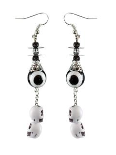 Lange Totenkopf-Anhänger Halloween-Ohrringe Augen schwarz-weiss 8x4x2cm