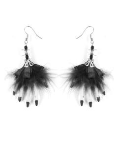 Halloween-Ohrringe mit Schleife, Totenkopf und Hexenhänden weiss-schwarz 6,5x5x1cm