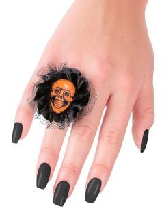 Halloween-Ring mit Schädel und Spitze schwarz-orange 5x5x2cm