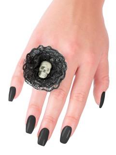 Halloween-Ring mit Schädel und Spitze schwarz-weiss 5x5x2cm