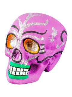 Tag der Toten Sugar Skull Totenschädel Halloween-Deko lila-silber 21x16x15cm