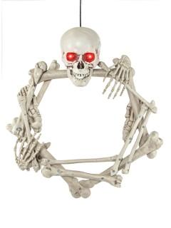 Skelett-Türkranz mit Knochen und Leuchtaugen Halloween weiss 55cm