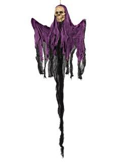 Skelett-Geist Halloween-Hängedeko schwarz-lila 122x74x10cm