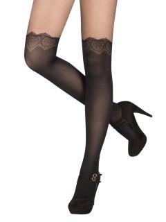 Damen-Overknees mit Spitze schwarz-transparent