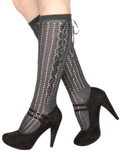 Sexy Damen-Strümpfe mit Schnürung grau