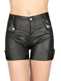 Gothic-Hotpants Halloween schwarz-silber