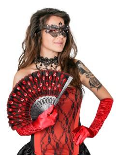 Fächer mit Pailletten Kostüm-Zubehör schwarz-rot