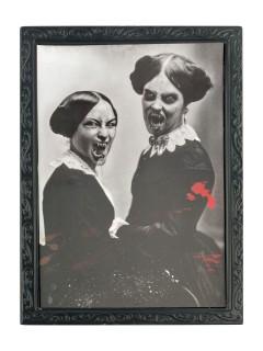 Halloween Portrait Vampire Party-Deko grau-schwarz 36x48cm