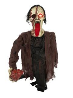 Zombie mit Herz und Leuchtfunktion Halloween-Deko grün-schwarz-rot 16x107x82cm