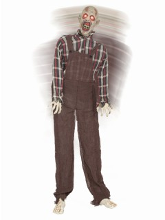 Gruseliger Zombie animiert Halloween-Dekofigur grau-schwarz 165cm
