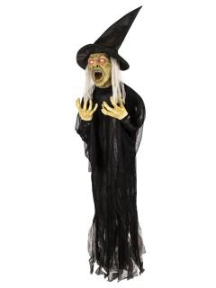 Schaurige Hexe animiert Halloween-Dekofigur schwarz-weiss-grün 16x130x153cm