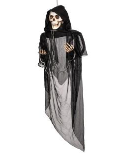 Schauriger Sensenmann mit Leuchtaugen Halloween-Hängedeko schwarz 153cm