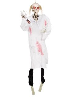 Gruseliger Horror-Arzt animiert Halloween-Hängedeko schwarz-weiss 91cm