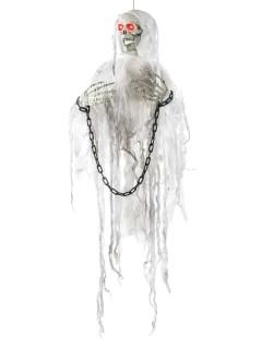 Gruseliges Skelett in Ketten animiert Halloween-Hängedeko weiss-schwarz 91cm