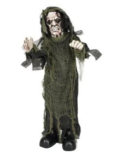 Gruseliger Ghoul animiert Halloween-Dekofigur schwarz-weiss 75cm