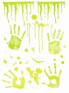 Geister-Handabdrücke Grusel-Deko grün 70x25cm