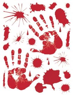 Blutige Handabdrücke und Blutspritzer Halloween-Deko rot 70x25cm