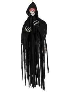 Horror Sensenmann animiert Halloween-Hängedeko schwarz-weiss 90cm
