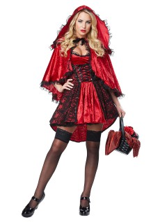 Verruchtes Rotkäppchen Halloween-Damenkostüm rot-schwarz