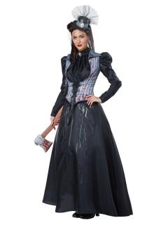 Historische Axt-Mörderin Halloween-Damenkostüm Killerin schwarz-grau