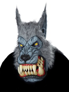Horror-Werwolf Halloween-Maske grau