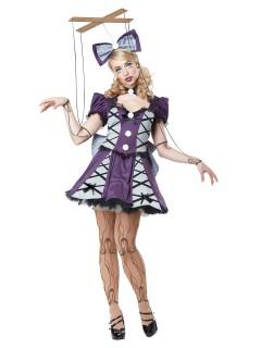 Marionette Damenkostüm Puppe Doll lila-silber