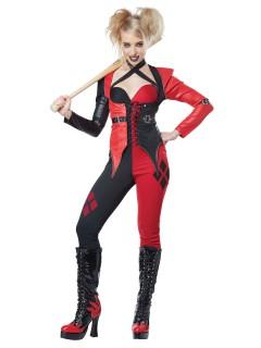 Psycho Harlekin Halloween-Damenkostüm Clown-Kostüm für Halloween rot-schwarz