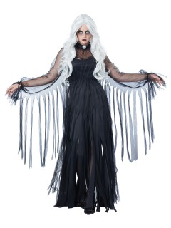 Elegante Geisterfrau Halloween-Damenkostüm Gespenst schwarz
