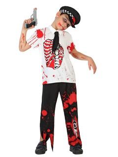 Zombie-Polizist Halloween-Kinderkostüm schwarz-weiss-rot