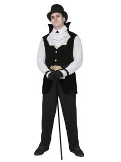 Eleganter Vampir Kostüm Dracula schwarz-weiss