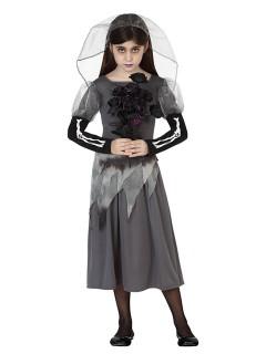 Geister-Braut Halloween-Kinderkostüm Zombie grau-schwarz