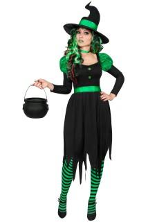 Grüne Hexe Damenkostüm Märchen schwarz-grün