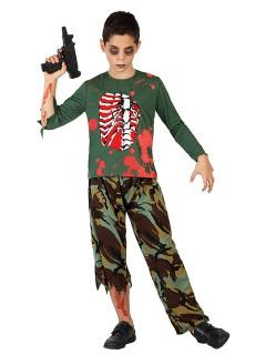 Zombie-Soldat Halloween-Kinderkostüm grün-rot