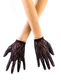 Elegante Spitzen-Handschuhe kurz schwarz