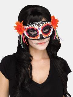 Tag der Toten venezianische Augenmaske Sugar Skull orange-bunt