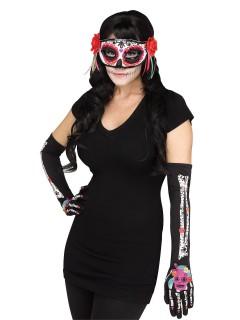 Tag der Toten Skelett-Handschuhe und Augenmaske Sugar Skull schwarz-bunt