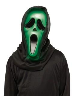 Leuchtende Scream Ghost Face Halloween-Maske Lizenzartikel grün-schwarz