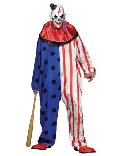 Psycho Clown Halloweenkostüm Zirkus weiss-rot-blau